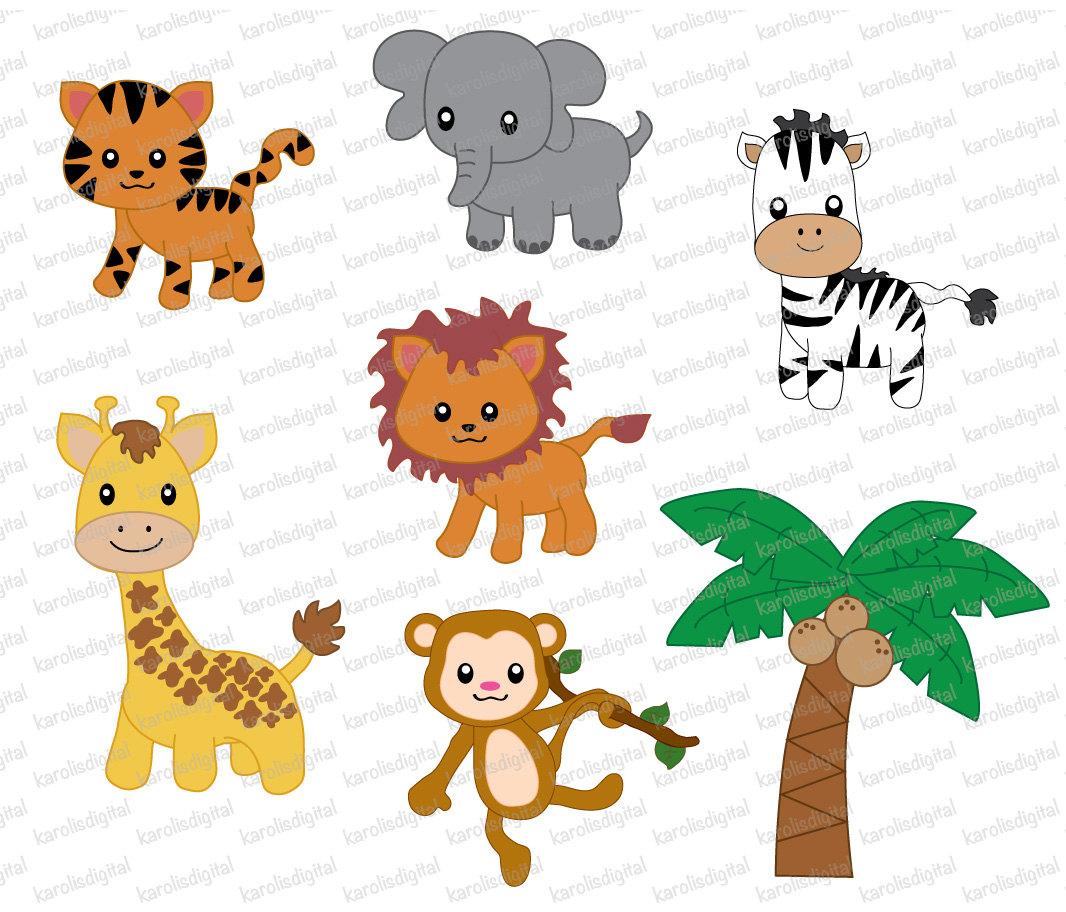 Jungle animals, 7 digital clip art set.