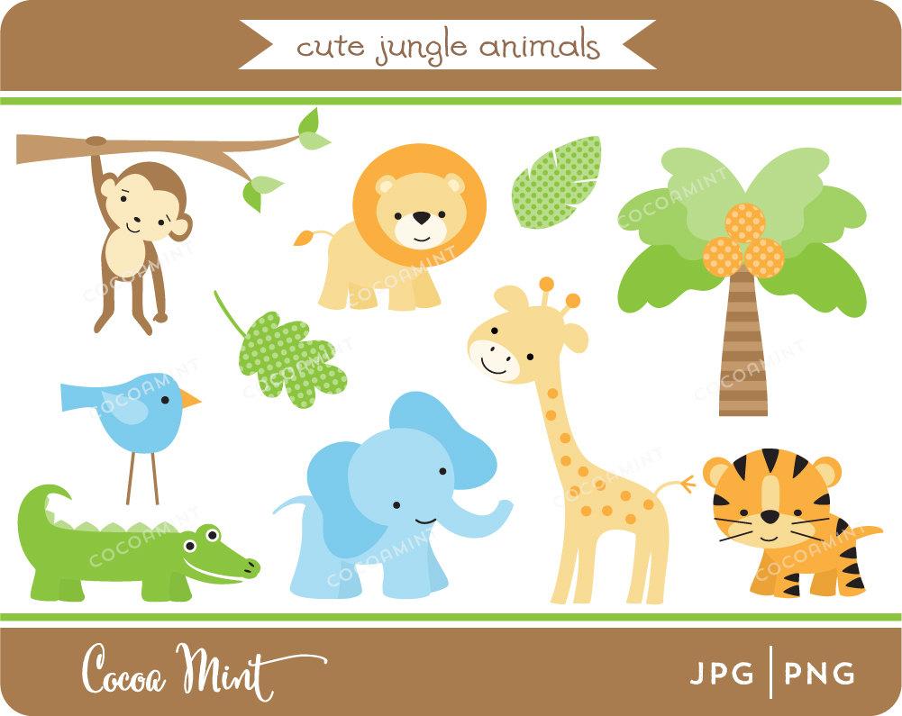 Cute Jungle Animals Clip Art.