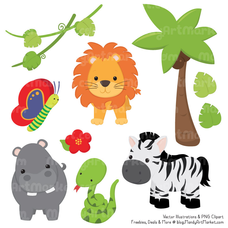 Cute Safari Animals Clipart & Vectors in Natural.