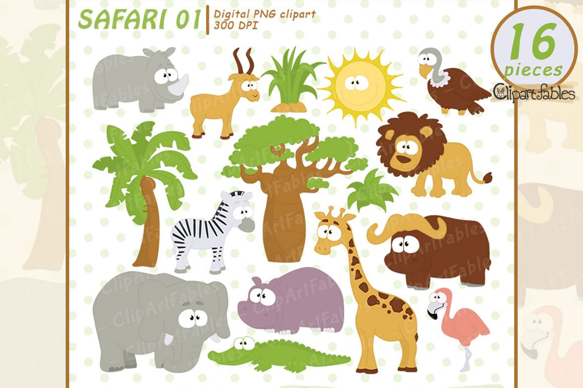 SAFARI clipart, cute animals clip art, instant download.