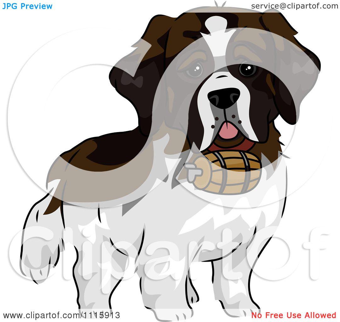 Clipart Cute St Bernard Dog With A Barrel.