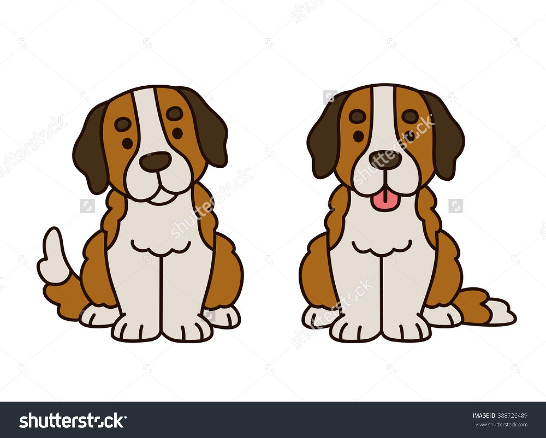 Cute Saint Bernard Puppy Cartoon Dog Stock Vector 388726489.