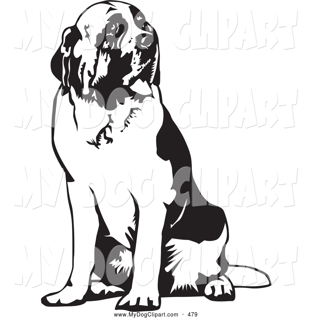 Clip Art of a Cute Large St Bernard Dog Spanting and Sitting.