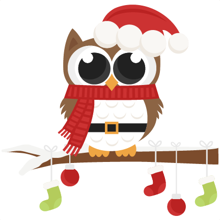 Santa Owl scrapbook clip art christmas cut outs for cricut cute.