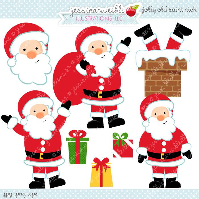 Jolly Old Saint Nick Cute Digital Clipart Commercial Use.