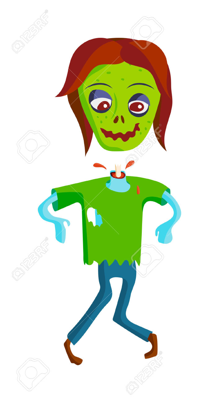 Colorful Zombie Scary Cartoon Elements And Magic Zombie Human.