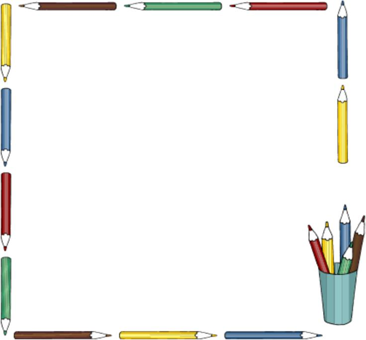 cute school clipart horizontal border #2