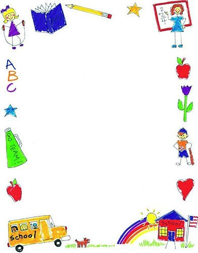 Cute School Clipart Horizontal Border.