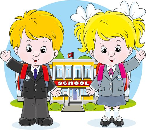 Cute school children vectors geaphics set 04.