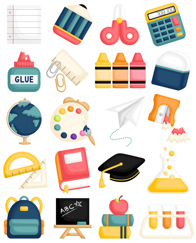 Cute school supplies Vector.