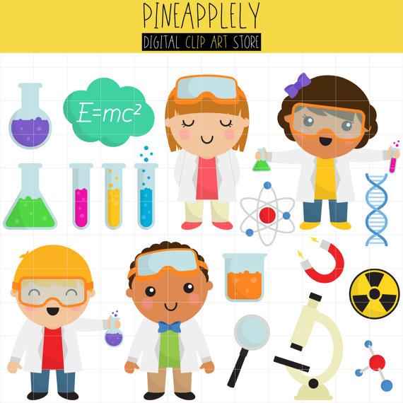 Cute Scientists, School is cool, Fun Science Digital Clip.