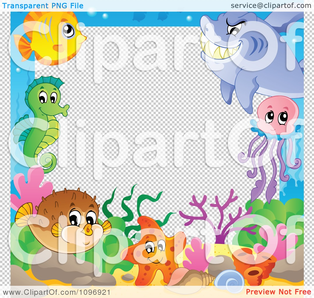 Clipart Frame Of Cute Sea Creatures.