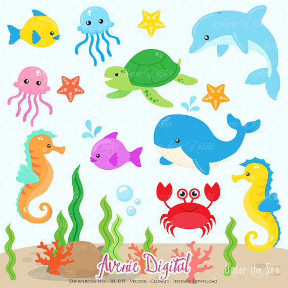 Under the Sea Clipart. Scrapbook printable Cute Sea animals.