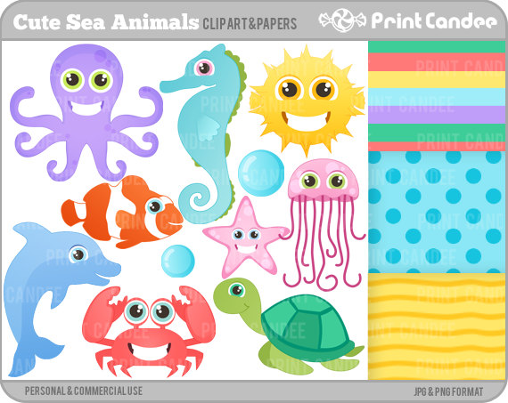 Cute Sea Animals Digital Clip Art Personal and Commercial.