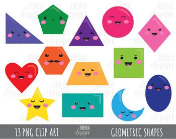 50% sale GEOMETRIC SHAPES clipart, kawaii geometric shapes clipart, 2D  shapes.