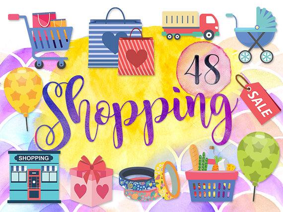 48 Cute Shopping Clipart: \