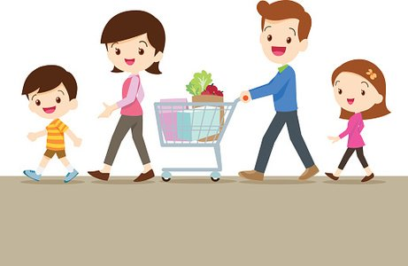 Cute family shopping together Clipart Image.