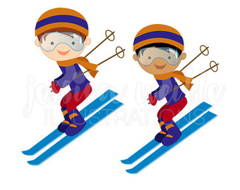 Girl Downhill Skier Cute Digital Clipart Winter Skiing Clip.