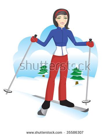 Cute Ski Girl Stock Vector 35148367.