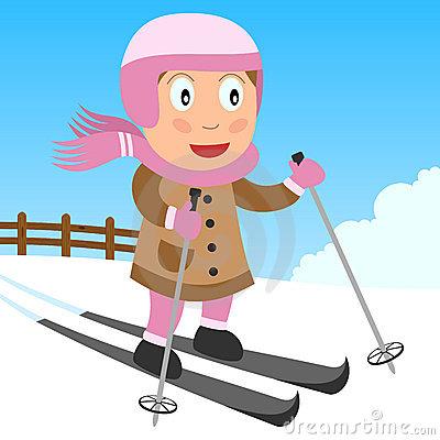 Cartoon Girl Skiing Stock Photography.