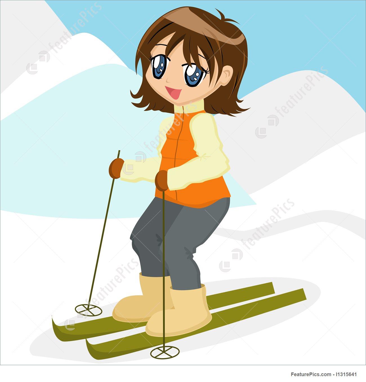 Illustration Of Cartoon Girl Skiing.