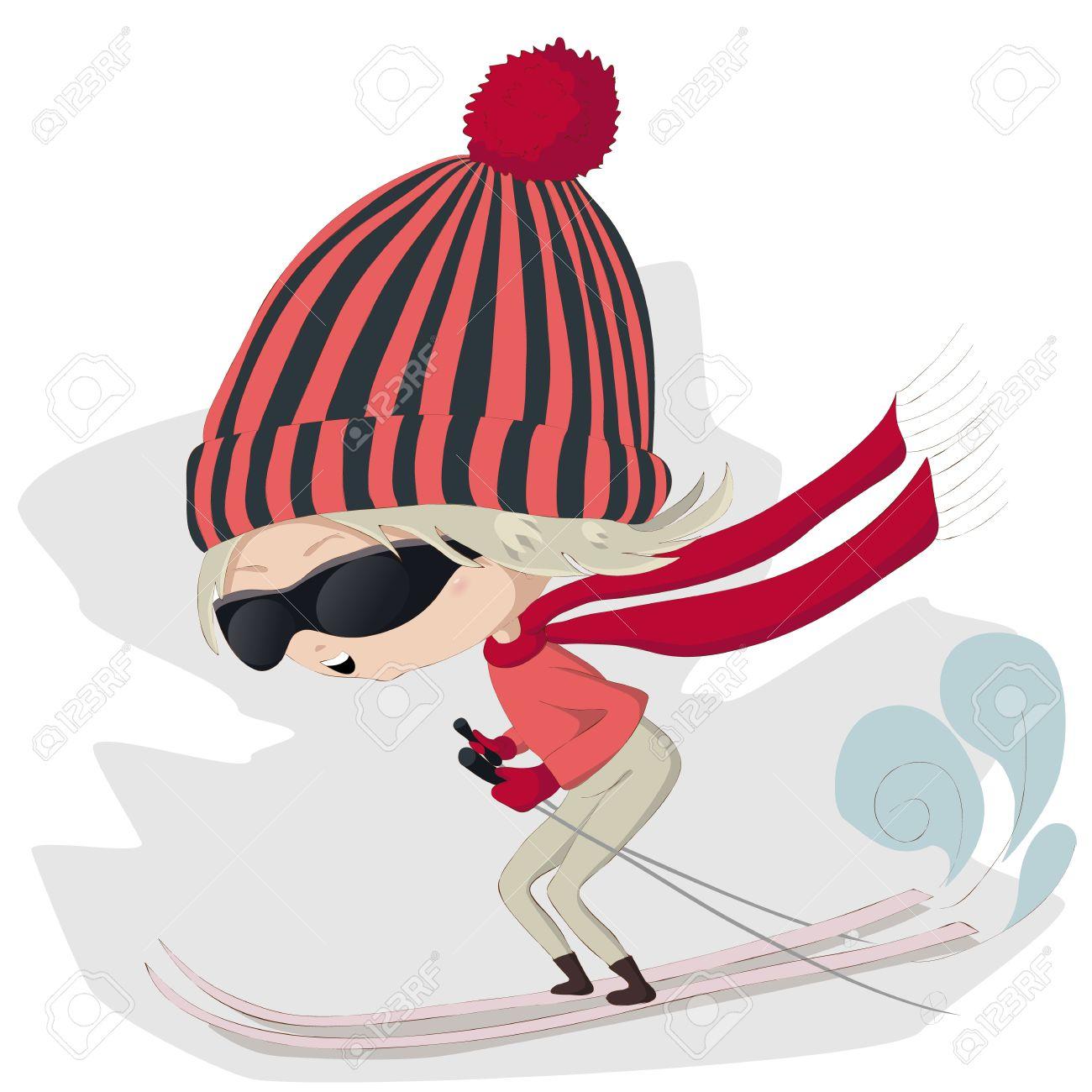 Vector Illustration Of A Cute Cartoon Skiing Girl Royalty Free.
