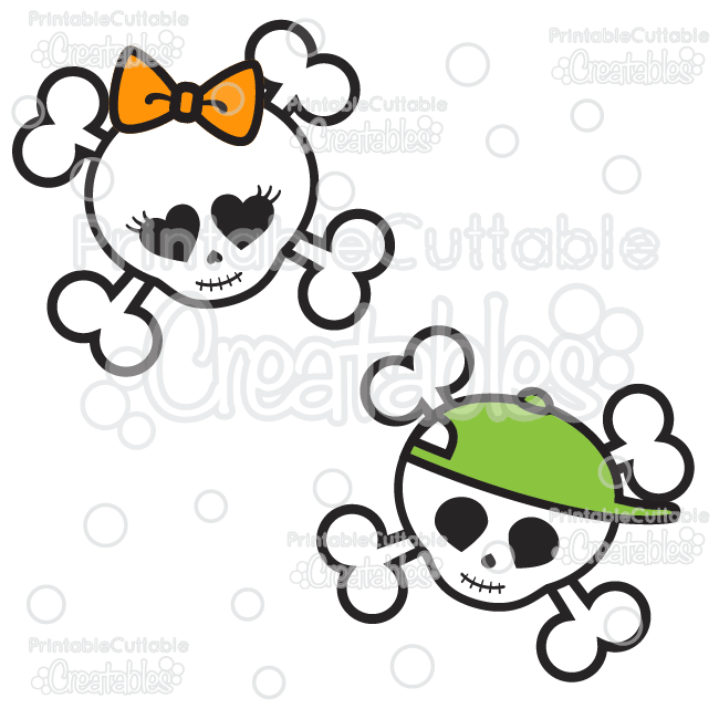 Cute Skulls Halloween SVG Cutting Files & Clipart.