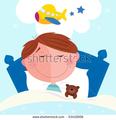 Small Boy Sleeping Bed Dreaming About Stock Vector 53410006.