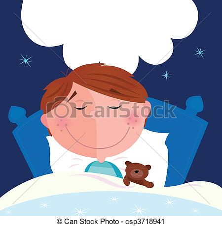 Vector Clip Art of Small boy sleeping in bed.