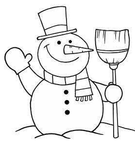 Snowman Black And White Christmas Gift Clipart.