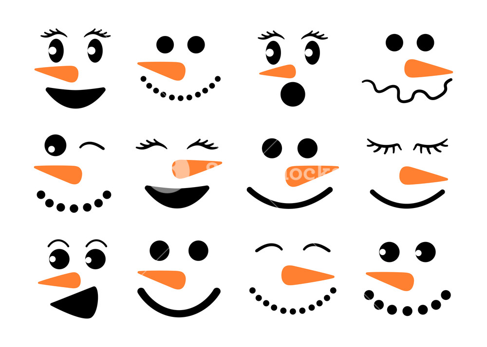 Cute snowman faces.