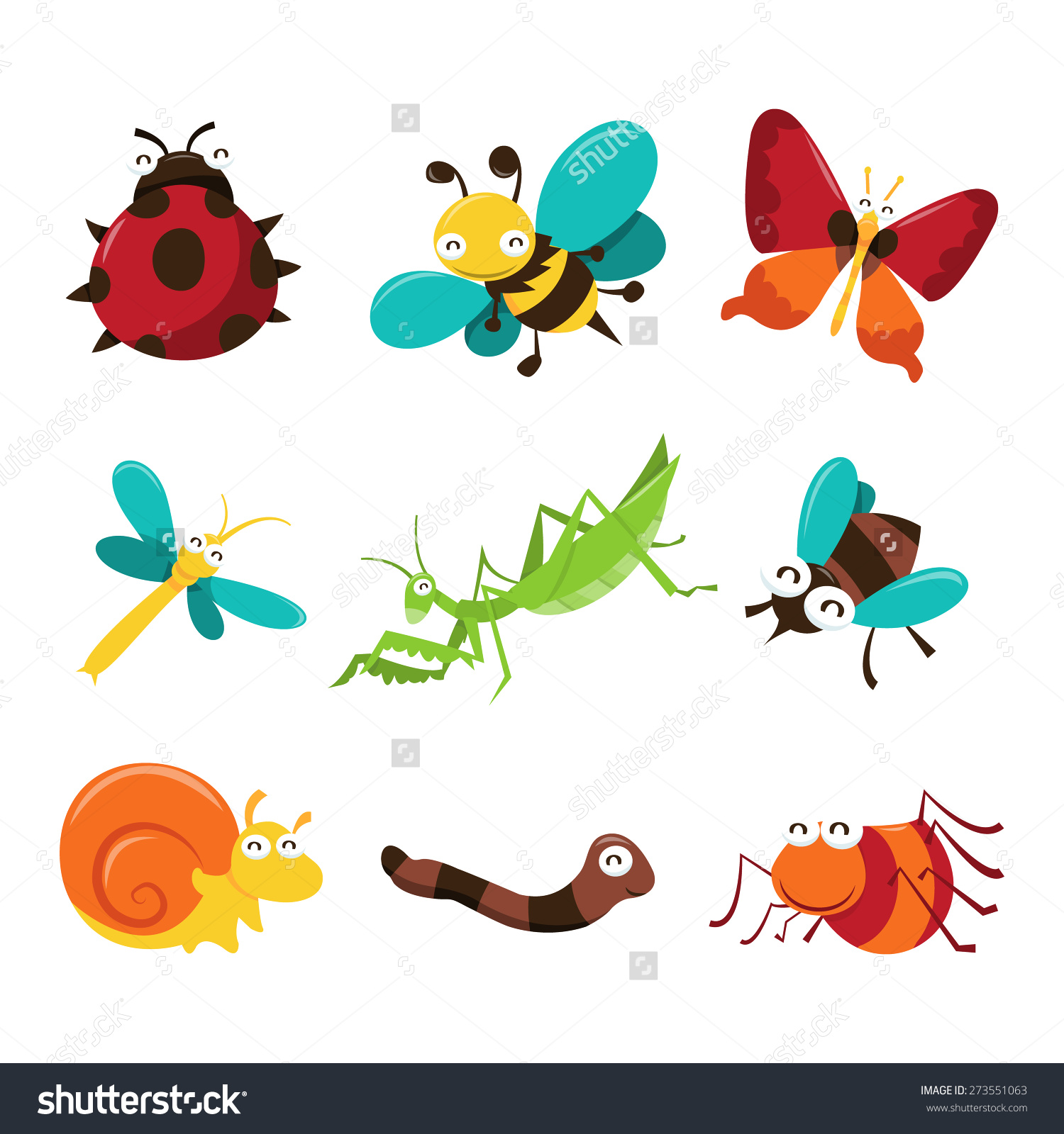 Cartoon Vector Illustration Cute Happy Bugs Stock Vector 273551063.
