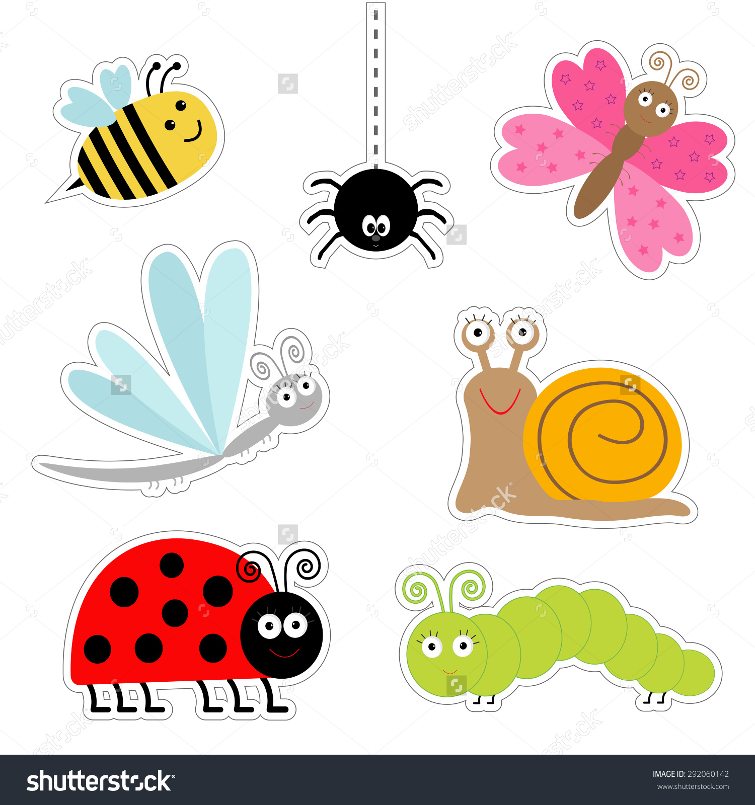 Cute Cartoon Insect Sticker Set Ladybug Stock Vector 292060142.