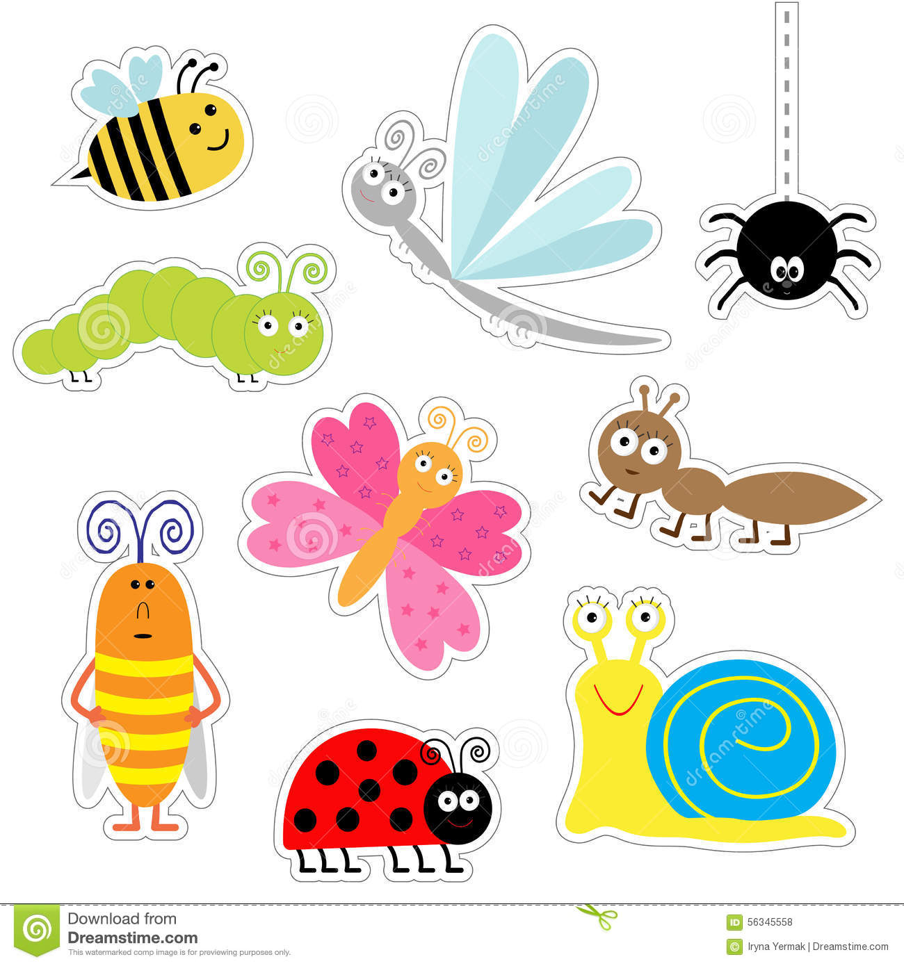 Cute Cartoon Insect Sticker Set. Ladybug, Dragonfly, Butterfly.