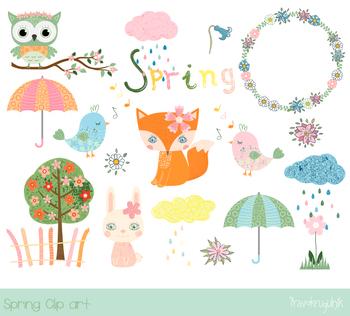 Cute spring clipart set, Spring animal character clip art, fox, owl, bunny,  bird.