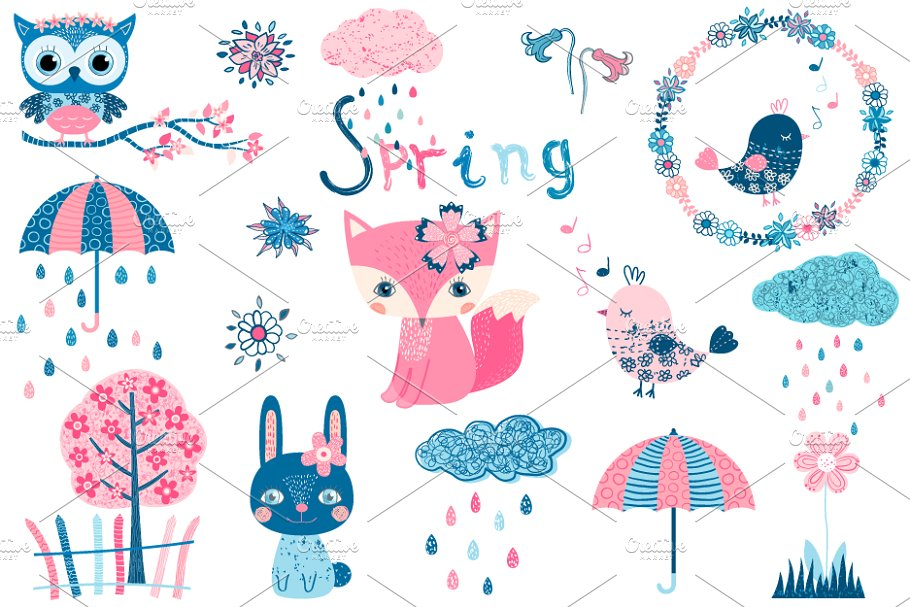 Cute spring clipart set with animals ~ Illustrations ~ Creative Market.
