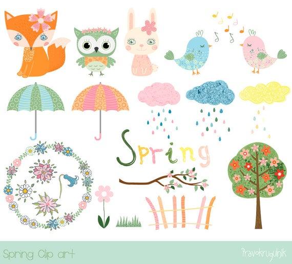 Cute spring clipart, Kawaii fox clipart, Bird clip art, Spring animal clip  art, umbrella, flower tree, cloud, wreath, rain, owl, bunny.