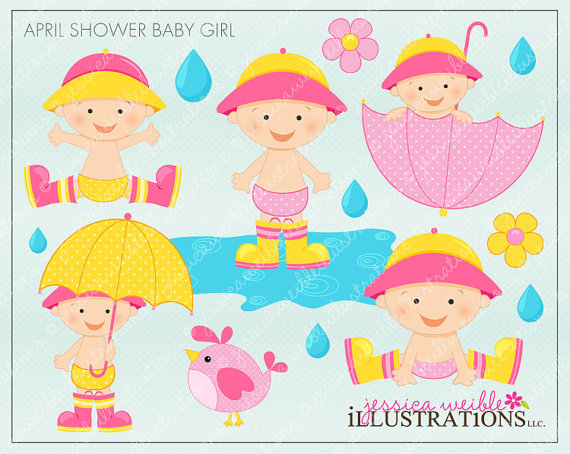 Cute Spring Showers Clipart.