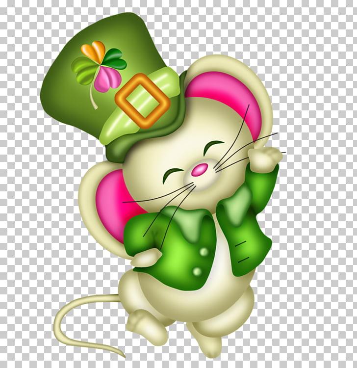 Ireland Saint Patricks Day , Cute cartoon mouse PNG clipart.