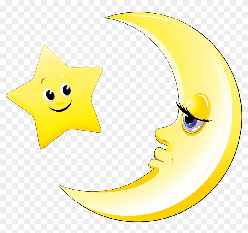 Transparent Cute Moon And Star Clipart Picture.