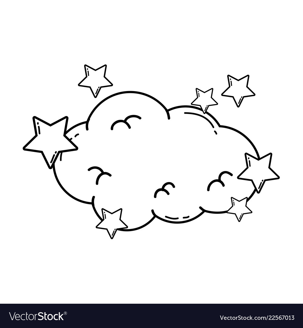 Cloud with stars in black and white.