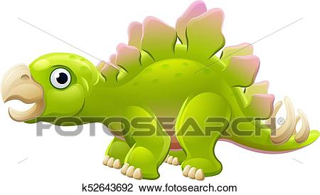 Cute Stegosaurus Cartoon Dinosaur Clipart.