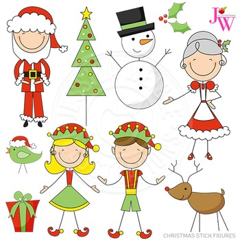 Christmas Stick Figures Cute Digital Clipart, Christmas Graphics.