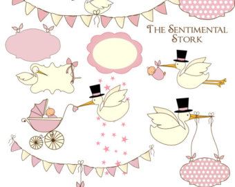 Stork Clipart, Blue Baby Shower Graphics, Cute Baby Clipart, Stork.
