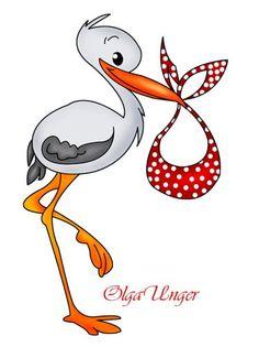 Stork Carrying Baby Boy Cartoon Clip Art.