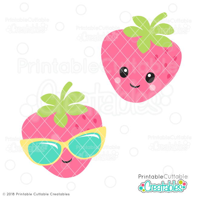 Cute Strawberry SVG File for Silhouette, for Cricut die cutting machines.