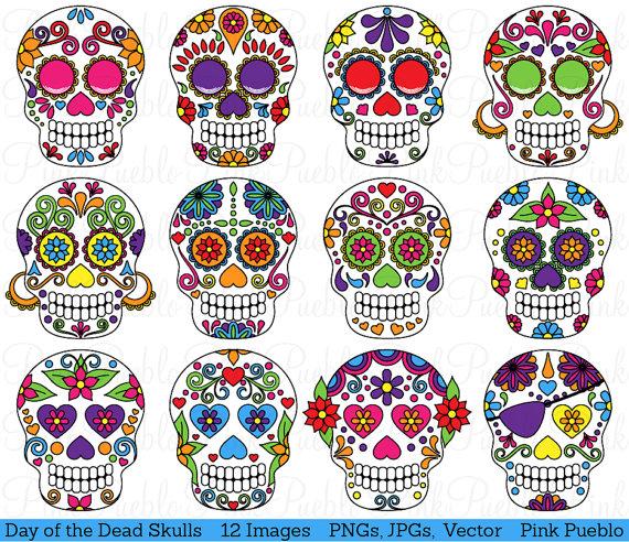 Day of the Dead Skull Clipart Clip Art, Sugar Skulls Clipart Clip.