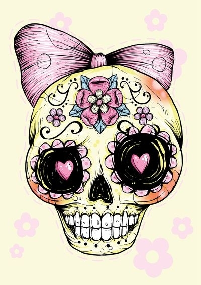 Showing post & media for Cartoon sugar skulls girly.