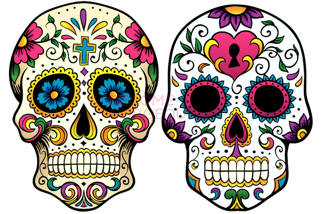 girly sugar skull clipart - Clipground