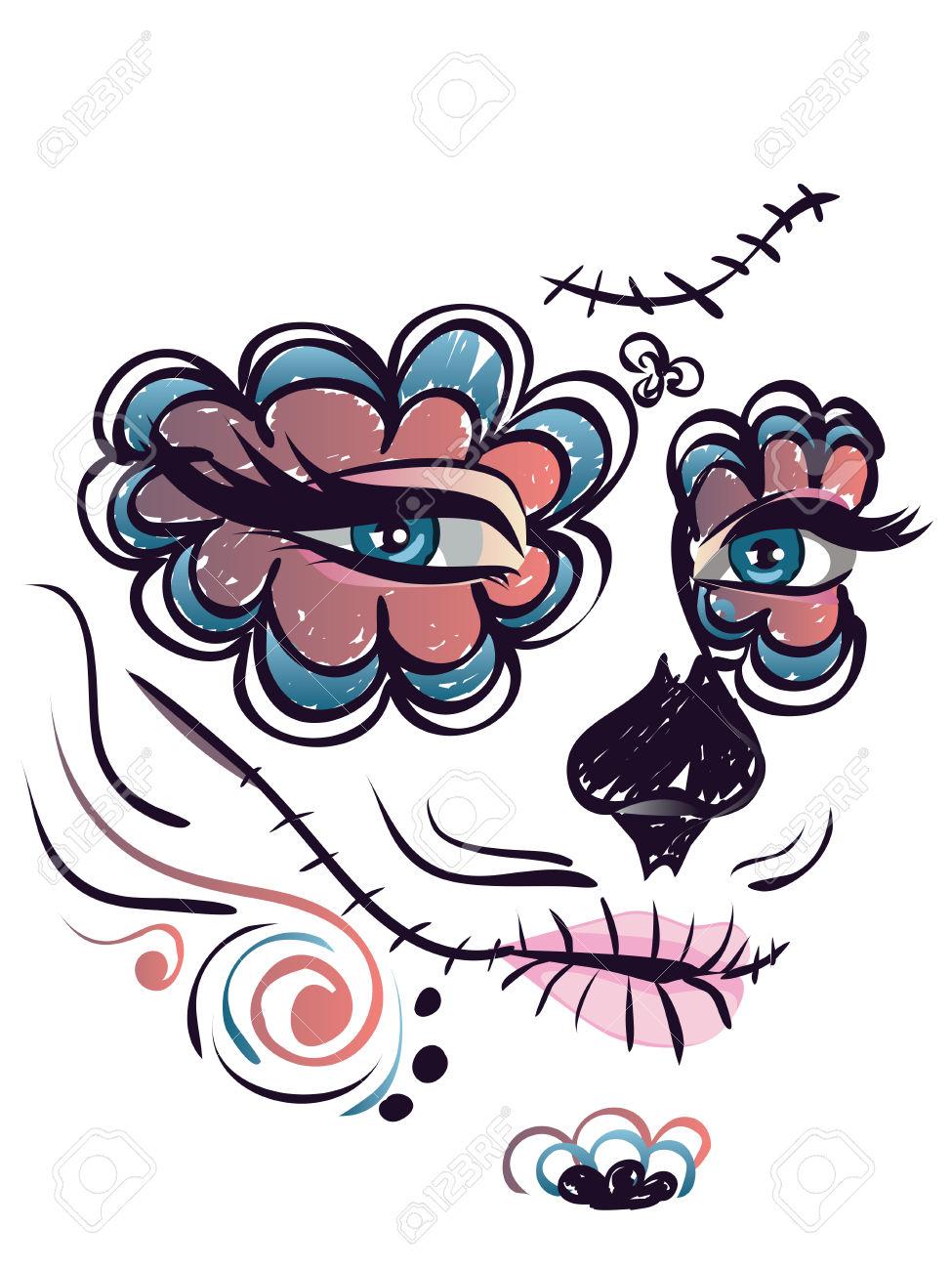 Cute Sugar Skull Face Clipart.